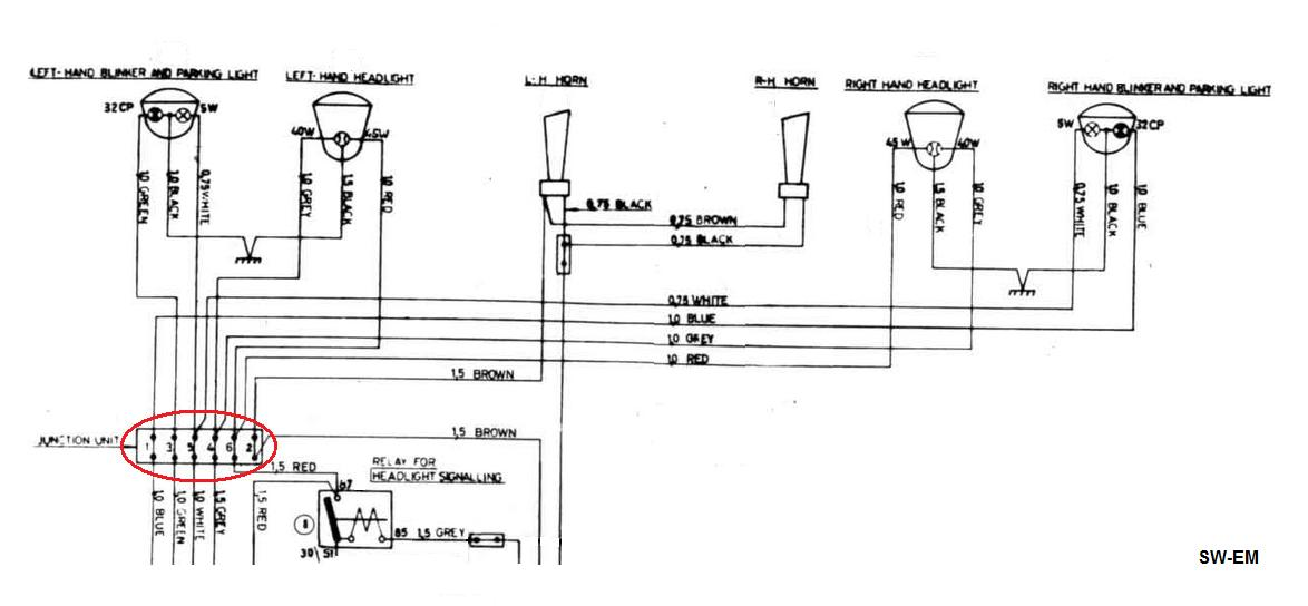voltage drop in hex conn excerpt of 122 wiring diagram showing junction unit at red