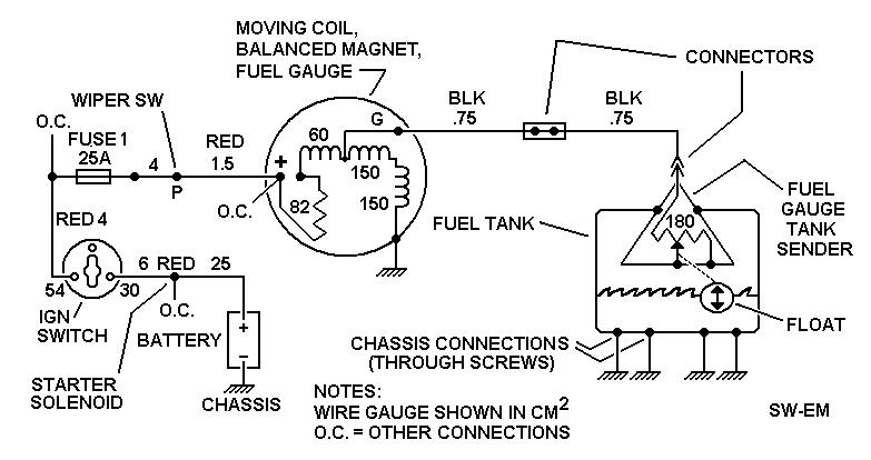 Fuel Gauge ckt sw em fuel gauge fuel gauge wiring diagram at fashall.co