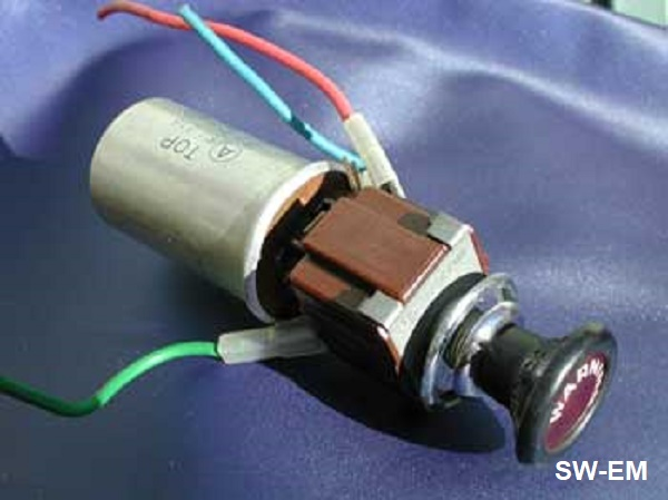 sw em emergency flasher 140 style emergency flasher switch by manufacturer swf a three terminal blinker element is shown in place plugged onto the back