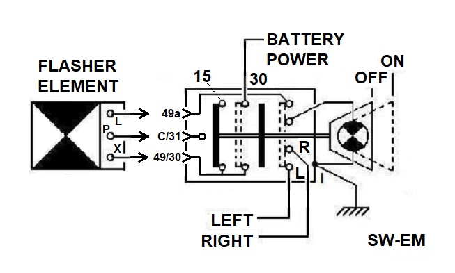 internal connection details of the 140 style emergency flasher switch swf  pn500 298 with flasher element