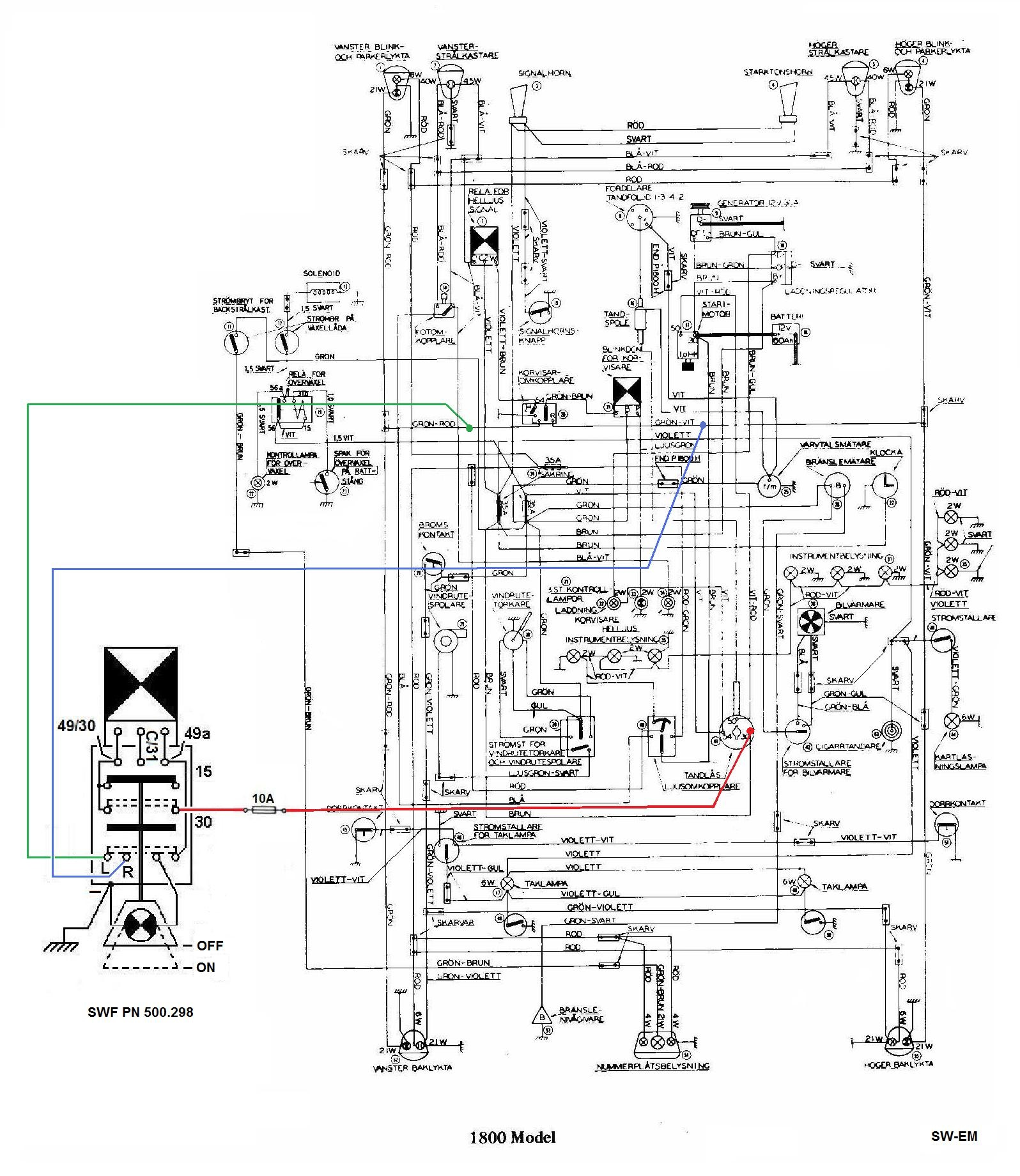 Sw Em Emergency Flasher 2000 Volvo V70 Ignition Cylinder Wiring Diagram Notes On Circuit Function As The Switch Has Its Own Blinker Element All It Needs Is Battery Power From Terminal 30 And